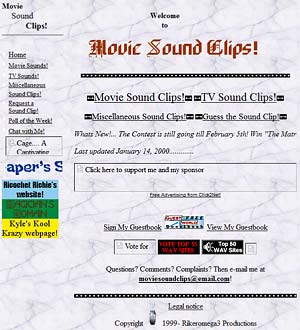 Movie Sound Clips back in March 2000